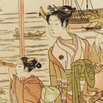 春信(司馬江漢)浮世美人寄花 HARUNOBU (SHIBA, KOUKAN)