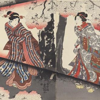 三代豊国 夜の桜 姿乃花競 TOYOKUNI III