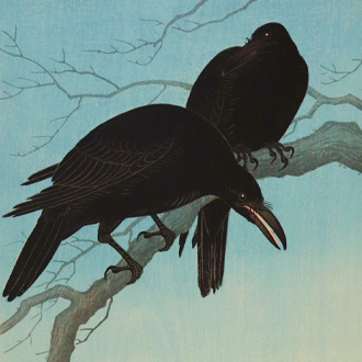 小原祥邨 月夜のカラス OHARA, SHOSON CROWS IN MOONLIGHT