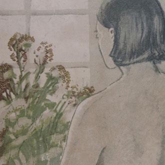 織田一磨 裸婦背面 限定8/20 石版画 ODA, KAZUMA  NUDE BACK VIEW