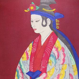 関野準一郎 出を待つ(琉球舞踊家 佐藤太圭子像)SEKINO, JUN'ICHIRO BEFORE THE STAGE: THE PORTRAIT OF RYUKYUAN (OKINAWA) DANCER SATOH, KEIKO