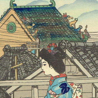 山村耕花 縁側より外を眺める女性 YAMAMURA, KŌKA A WOMAN LOOKING OUT FROM THE PORCH (SUGGESTED TITLE)
