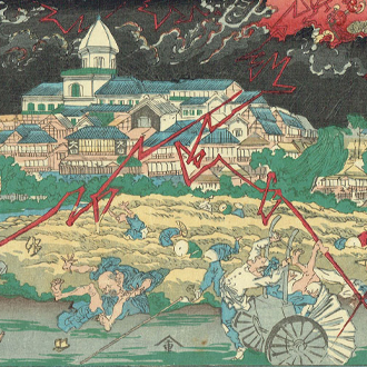 惺々暁斎 東京名所 新原日本堤之図|KYŌSAI NIHON RIVERBANK AT SHINYOSHIWARA : FAMOUS PLACES OF TOKYO