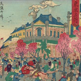 惺々暁斎  東京名所 尾張町通り商家繁栄之図|KYŌSAI OWARI-CHŌ STREET : FAMOUS PLACES OF TOKYO