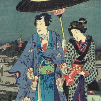 国周・周延 江戸八景之内 原たんぼの夜の雨|KUNICHIKA,CHIKANOBU RAINY NIGHT AT RICE FIELD IN YOSHIWARA : 8 VIEWS OF EDO