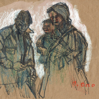 小野忠重 三人の人物像 ONO, TADASHIGE THREE PERSONS